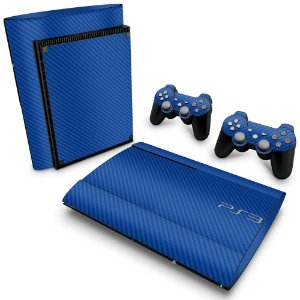 PS3 Super Slim Skin - Fibra de Carbono Azul