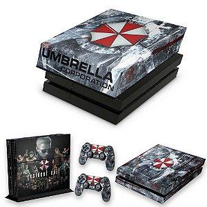KIT PS4 Fat Skin e Capa Anti Poeira - Resident Evil Umbrella