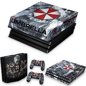 KIT PS4 Pro Skin e Capa Anti Poeira - Resident Evil Umbrella