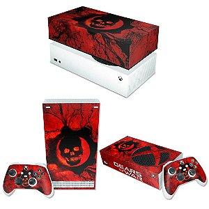 KIT Xbox Series S Skin e Capa Anti Poeira - Gears of War - Skull