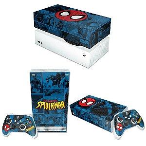 KIT Xbox Series S Skin e Capa Anti Poeira - Homem-Aranha Spider-Man Comics
