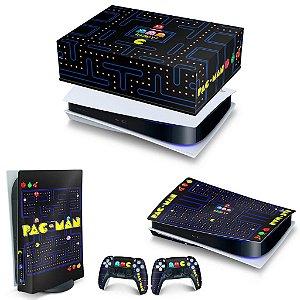 KIT PS5 Capa Anti Poeira e Skin -Pac Man
