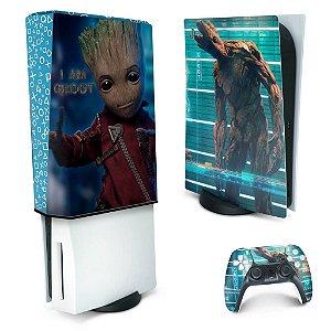 KIT PS5 Skin e Capa Anti Poeira - Baby Groot