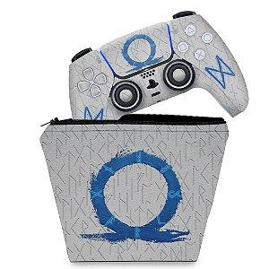 KIT Capa Case e Skin PS5 Controle - God Of War Ragnarok