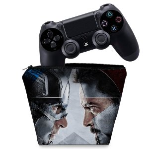 Capa PS4 Controle Case - Capitão America - Guerra Civil