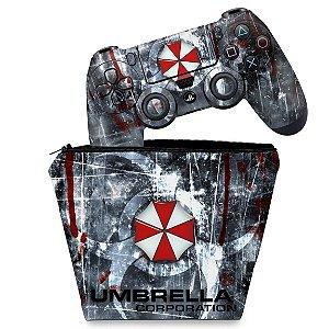 KIT Capa Case e Skin PS4 Controle  - Resident Evil Umbrella