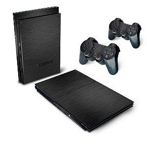 PS2 Slim Skin - Aço Escovado Preto