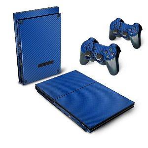 PS2 Slim Skin - Fibra de Carbono Azul