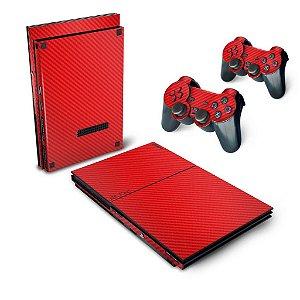 PS2 Slim Skin - Fibra de Carbono Vermelho