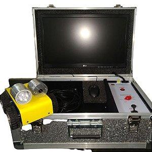 Robô com monitor 19 pol e grav em HD e pen-driving, acoplado em maleta
