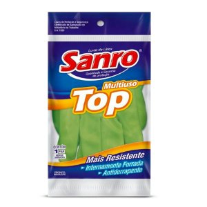 Luva de Látex Multiuso Top | Sanro | Verde | Tamanho G
