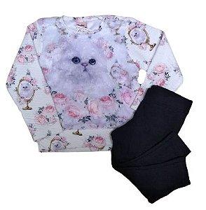 Conjunto menina blusa de pelô e legging Quebra Cabeça (1146)