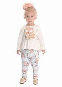 Conjunto menina blusa meia estação com legging raposinha Quebra Cabeça (1130)