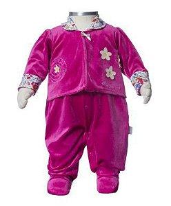 Macacão para bebê menina em plush Beka (BK294)