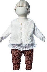 Macacão longo menina onça com colete de pêlo - Keko Baby (2250)
