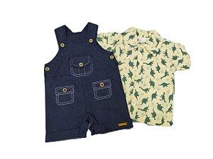 Jardineira com camisa Dinossauros