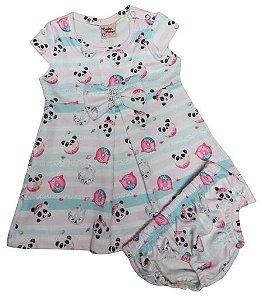 Vestido bebê estampa Pandinha