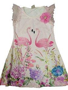 Vestido estampa flamingos, manga tule e aplique strass