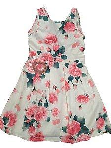 Vestido menina floral com cinto