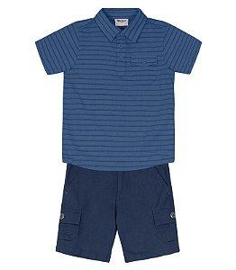 Conjunto com camisa manga curta e bermuda sarja