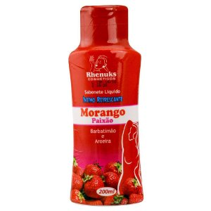 SABONETE LÍQUIDO REFRESCANTE MORANGO PAIXAO RHENUKS 200 ml