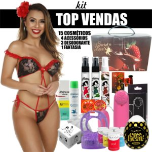 kit 15 Cosméticos + 4 Acessórios + 3 Desodorante + 1 Fantasia