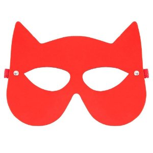 Máscara Mulher Gato Brasil Fetiche Vermelha