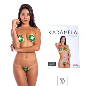 TAPA-SEXO COMESTÍVEL KARAMELA FORMATO FLOR - MENTA