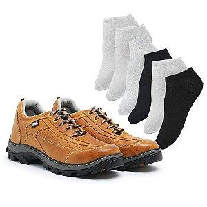 Tênis em couro legítimo Zarb - Whisky - 6 pares de meia
