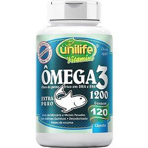 Ômega 3 1200mg 120 caps  Óleo de Peixe - Unilife Vitamins