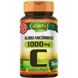 Vitamina C 1000mg  ácido ascórbico 30 comp - Unilife Vitamins