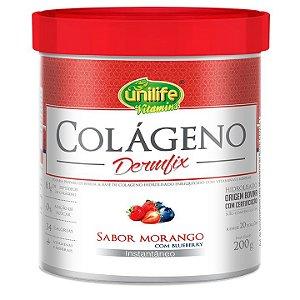 Dermfix Colágeno em pó sabor Morango com Blueberry 200g - Unilife Vitamins