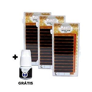 Kit fios o'clair 0.06mm 10/12/14mm Supreme Volume + adesivo Smart+ 2g grátis