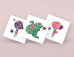 Kit Fake tattoos - Gojaira, Purple Kawaii, Pink Kawaii