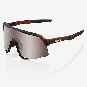 Óculos Ciclismo 100% S3 Marrom Fosco Soft Prata Hiper Original