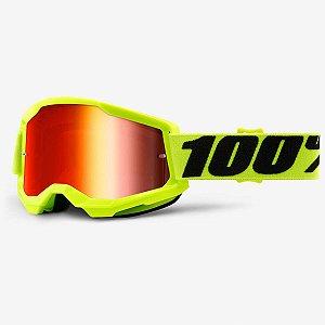 Óculos 100% Strata Goggle Bike DH Motocross Freeride Amarelo Neon