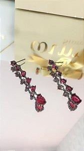Brinco Rodio negro pedras rosas