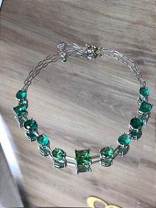 Choker cor prata com pedras verdes