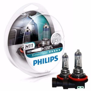 Par de Lâmpadas Philips Xtreme Vision H11 55w 3350K Dobro de Alcance