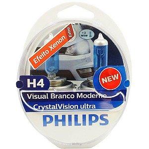 Lampada Philips H4 Cristal Vision Ultra 4300K 55W Original