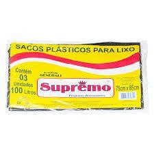 SACO DE LIXO SUPREMO 100L CAIXA COM 50 UNIDADES