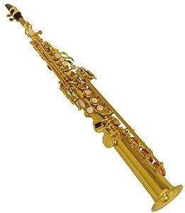 Saxofone Soprano Reto Shelter TJS6433 Bb Laqueado com Case