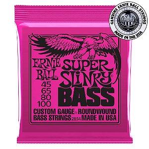 Encordoamento Ernie Ball Super Slinky Bass 4 Cordas .045 /.100 para Contrabaixo