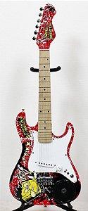 "KIT Guitarra Elétrica Bob Esponja SBE34OFT Com Falante 3"""