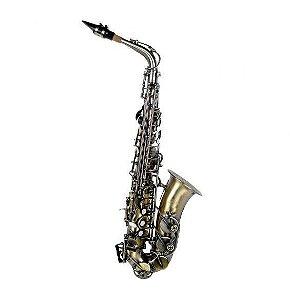Saxofone Alto Shelter TJS6430L Eb Envelhecido Vintage com Case