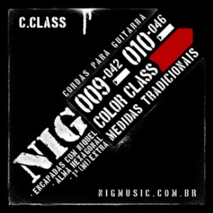 """Encordoamento NIG Color Class .010"""" Vermelha para Guitarra"""