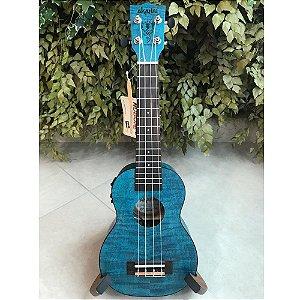 Ukulele Eletro-acústico Akahai KFB-21e Soprano Flamed Blue