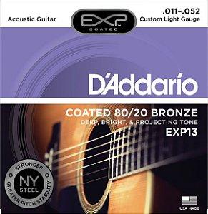 Encordoamento D'Addario EXP13 Coated 80/20 Bronze Custom Light 11-52 para Violão