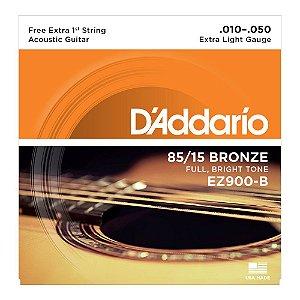 Encordoamento para Violão D'addario EZ900B 85/15 Bronze 010-050