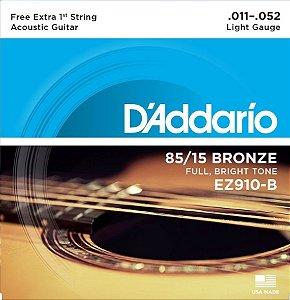 Encordoamento D'addario EZ910B 85/15 Bronze 011-052 para Violão